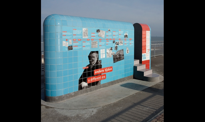 Interpretives designed to celebrate the 75th anniversary of the mighty Afsluitdijk (translation: Closure Dike) are skinned in ceramic tile and feature rounded corners to mimic the dike design and withstand strong winds.