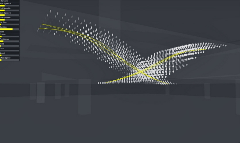 Computer model showing airFIELD's two intersecting, sweeping forms that evoke the wonder of flight.
