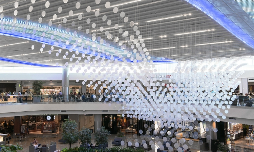 airFIELD (Nik Hafermaas, Ueberall) is a dynamic sculpture synched to real-time flight data reflecting the heartbeat of the world's busiest air travel hub, the Atlanta Intl. Airport (2013).