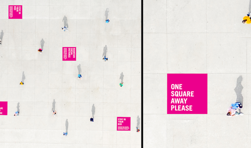 MIXED-USE AND URBAN SPACES. In large public areas where people are accustomed to gathering, temporary cues can help to communicate safe distances in a more lighthearted manner while enabling people to enjoy being back out in their community.
