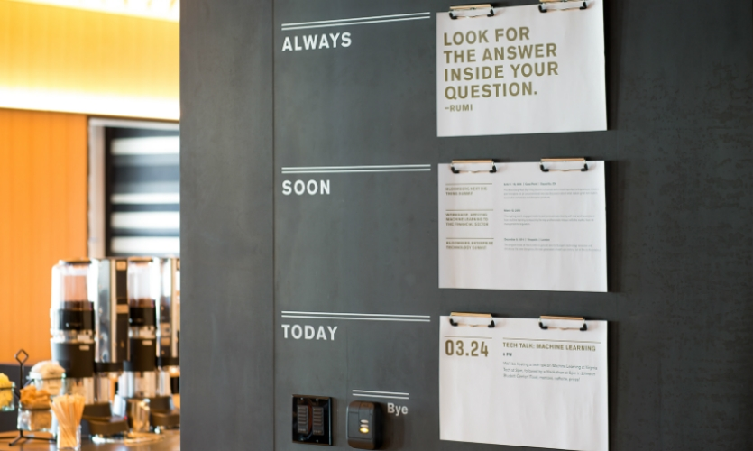 Near the lobby and pantry area, a major gathering space for employees, Volume created a friendly memo board.