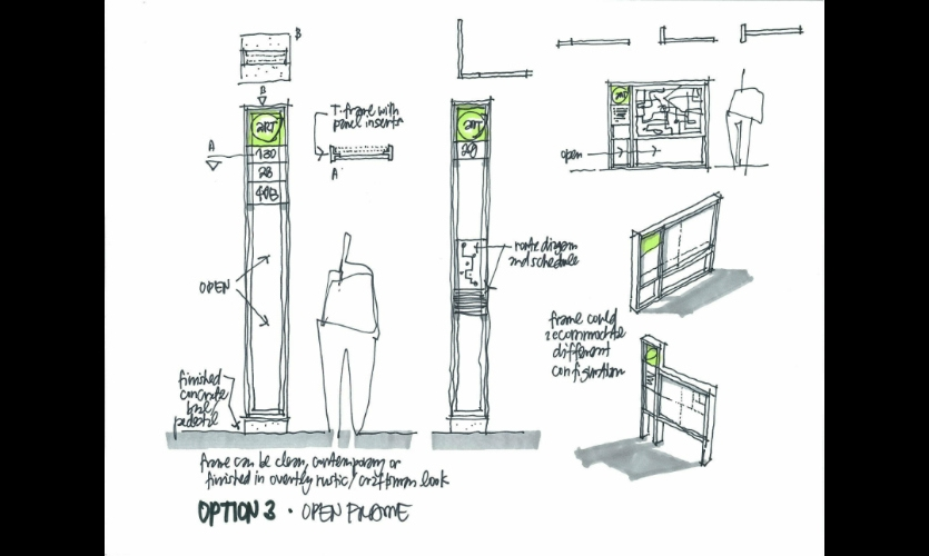These sketches were generated during a work session with ART, Asheville Redefines Transit, as the city was rebranding its regional transit service.