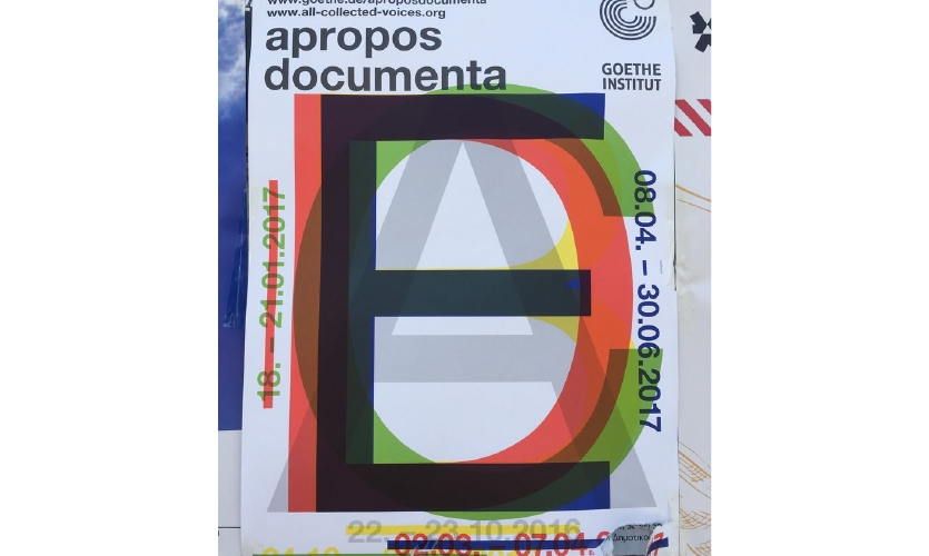 """Graphic Design (Athens): I saw many examples of poster design on the street. """"Apropos documenta"""" gives this typography an additive treatment."""