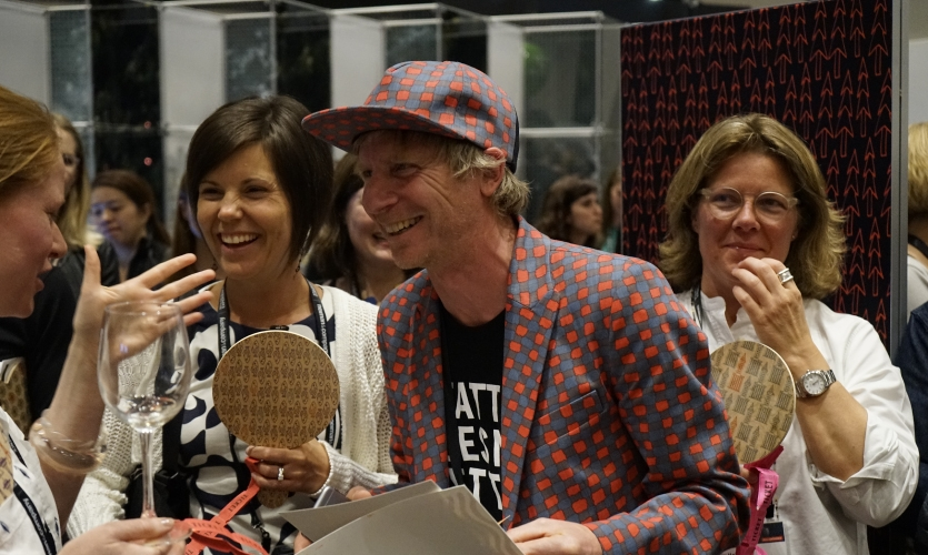 Nick Kapica was easy to spot in the crowd waiting for the auction to begin.