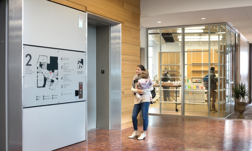 Because of the complexity of circulation in the building, the elevator lobbies were the main focal point for wayfinding.
