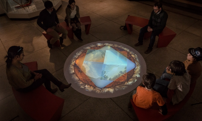 To introduce the Native American Voices exhibition at the Penn Museum, Bluecadet designed a central projection modeled after the traditional Native American gathering spot, the campfire.