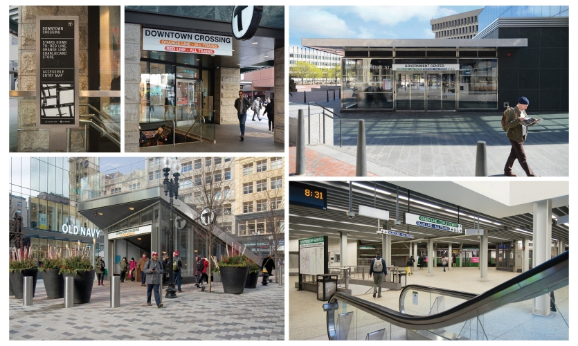 Implementation of the new wayfinding signage system at Downtown Crossing and Government Center, multiline stations in downtown Boston (image: photos of signage)
