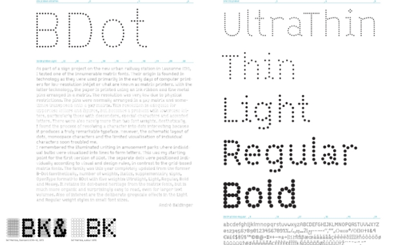 Swiss typographer Andre Balinger's B-Dot typeface was chosen for the titles, while the complementary B-Line is used for body text.