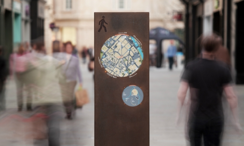 Cities like Bath, England, use placemaking and wayfinding as strong brand differentiators. The City of Bath Information System was created by PearsonLloyd, FW Design, and CityID.