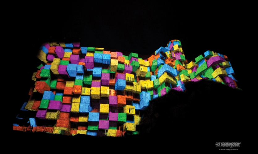 UK-based Seeper has been on the avante-garde of projection mapping. Battle of Branchage (2009) was projected onto the facade of a 13th century Jersey castle off the coast of Normandy, France.