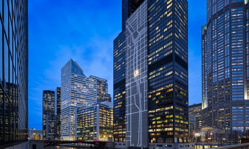 At the center of the design intervention for 300 South Wacker stands a larger-than-life map mural of the building's own urban context.