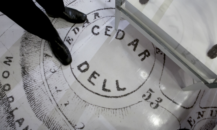 Apple Digital Graphics created the floor and wall graphics from historic maps.