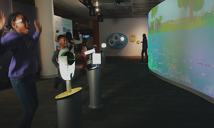 ○	Visitors can roll, drum, blow, or spin sensors to add virtual characters to a digital watershed.