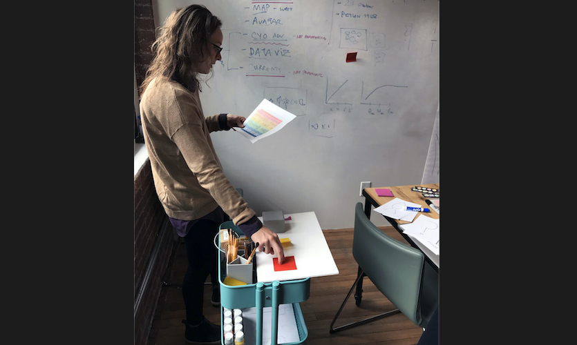 In an early test, the team used an IKEA cart as the physio-digital input, and a whiteboard as the wall!