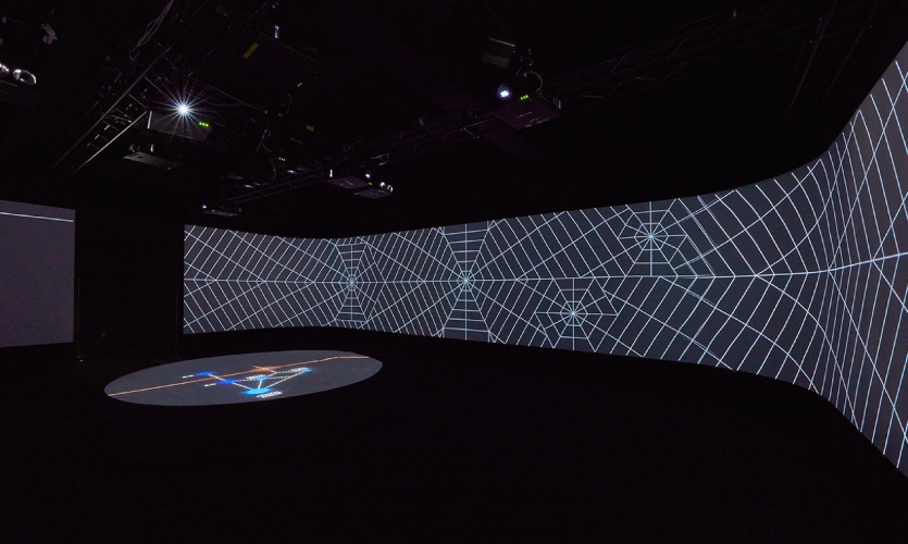 The hexagonal grid projected on the walls.