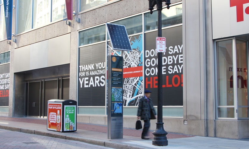 Boston Improvement District's latest solar-powered kiosk system located in the heart of downtown Boston with engineering and fabrication by DCL