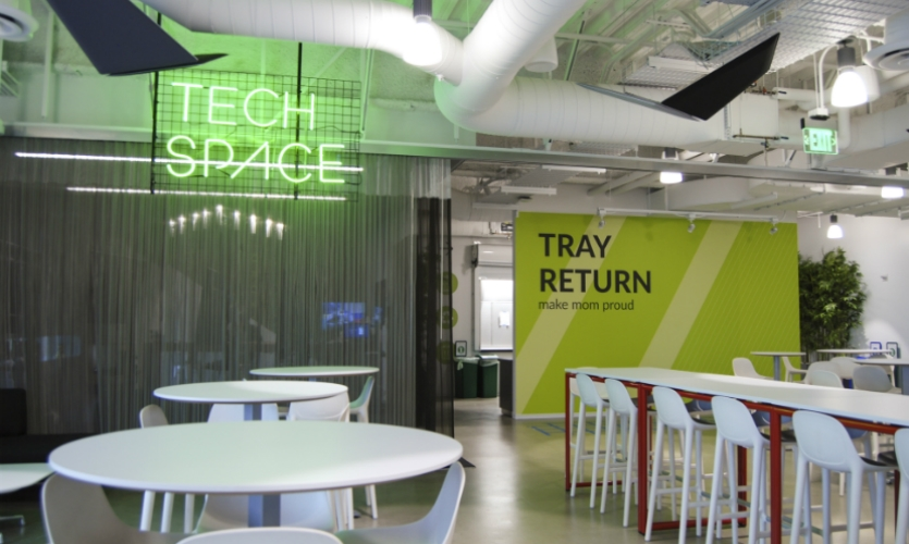 Tech Space is an IT help desk in the employee cafeteria.