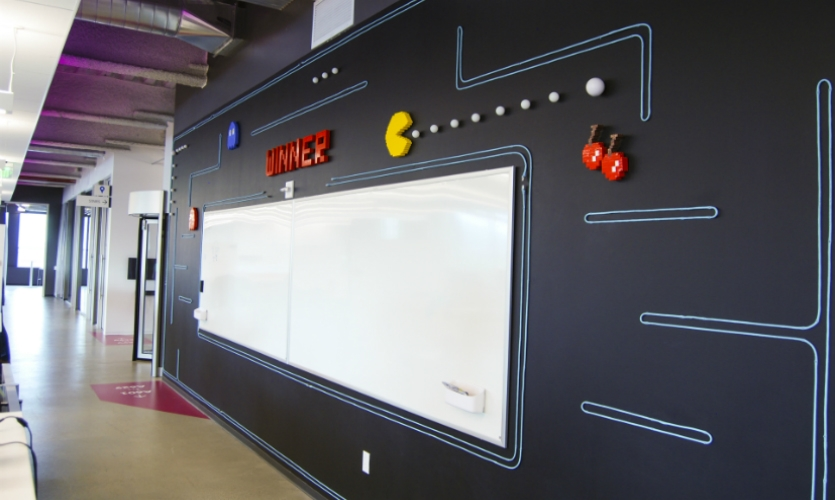 3D installations on each floor are centered around whiteboards, a symbol of Box's collaborative spirit.