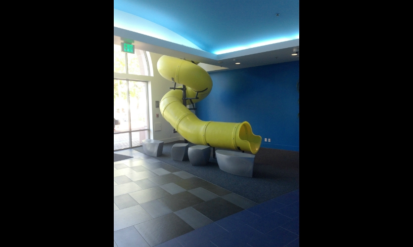 Box's old office featured a tube slide from the second floor to the main lobby. It didn't survive the mood, but Sky Design repurposed it as a sculpture in the cafeteria.