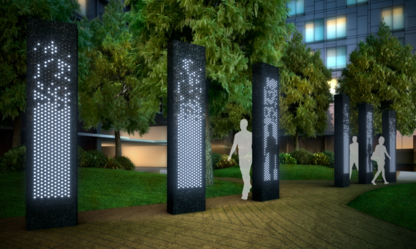 Front to Back is a new interactive installation in Toronto that consists of six granite monoliths equipped with sensors and LEDs. It translates movement into interactive light patterns on the other side of the monoliths.