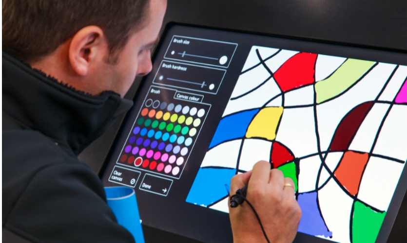 The digital drawing bar allows visitors to interpret what they saw at the museum.