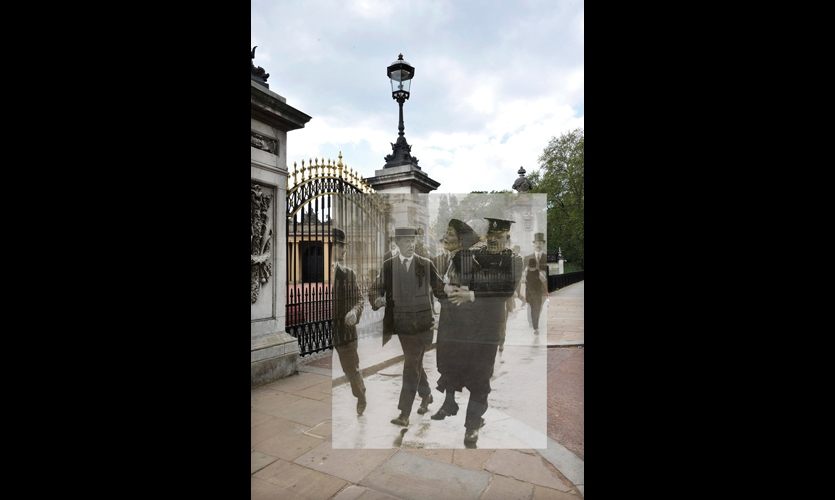 By clicking on a pin near Buckingham Palace, users can see history overlaid onto the current reality.