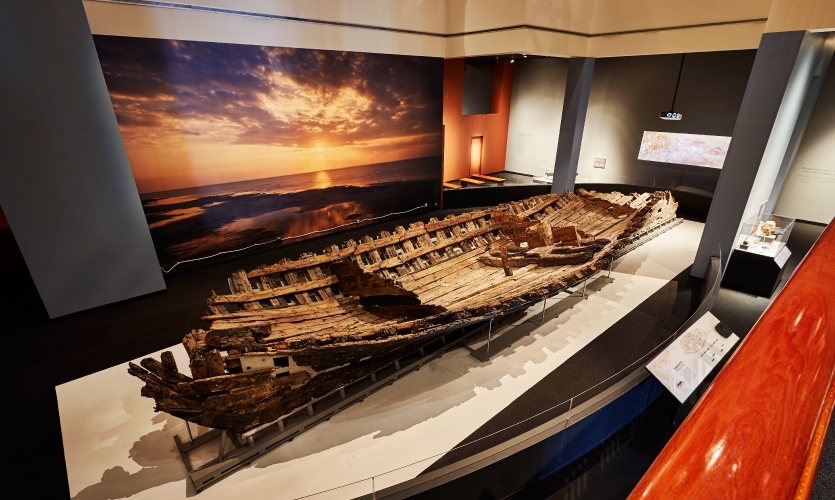 The Hull serves as a focal point in the exhibit and acted as the physical base for the experience at the Texas State History Museum.