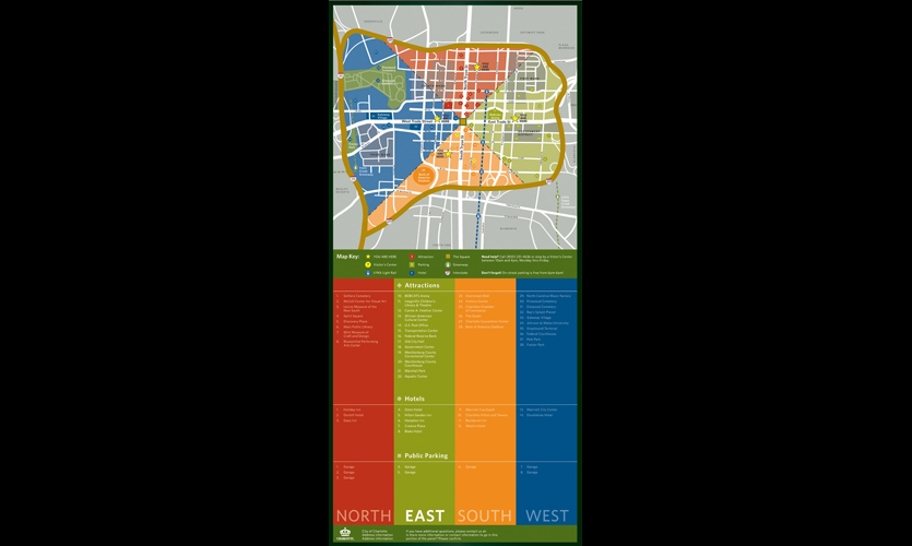 Two Twelve worked closely with stakeholder groups to create an easy-to-remember organizing system that divides the city into four quadrants, much like radiating pie slices. Color-coding helps distinguish the districts.