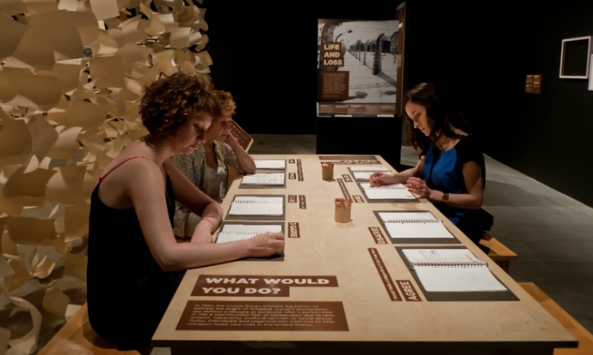 An area of the exhibit is devoted to recording visitors' impressions and ideas.