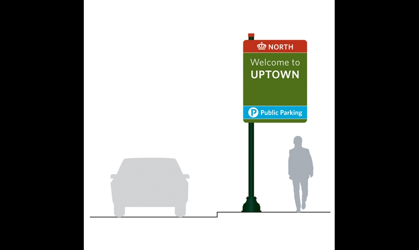 Vehicular signage was the second phase of the project, including gateway, parking, and directional signs.