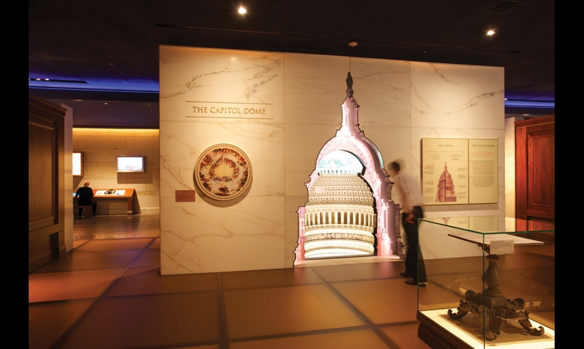 The new underground expansion at the United States Capitol Visitors Center provides orientation, interpretive experiences, and amenities to nearly 4 million visitors each year. A major feature is the 16,5000-sq.-ft. exhibit designed by Ralph Appelbaum Associates, including a cutaway of the Capitol Dome.
