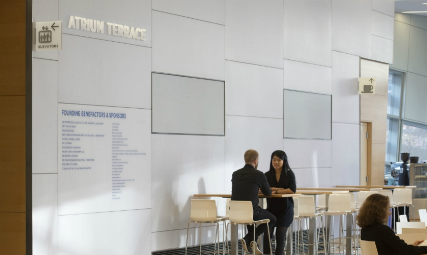 (2014) The sign program in Snohetta's Visitors' Pavilion to the memorial and museum is designed to harness the abundant natural and reflective light.