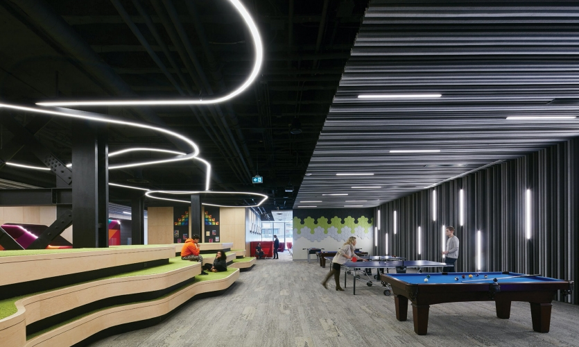 In the game lounge, the stepped seating area evokes the shape of Mount Royal