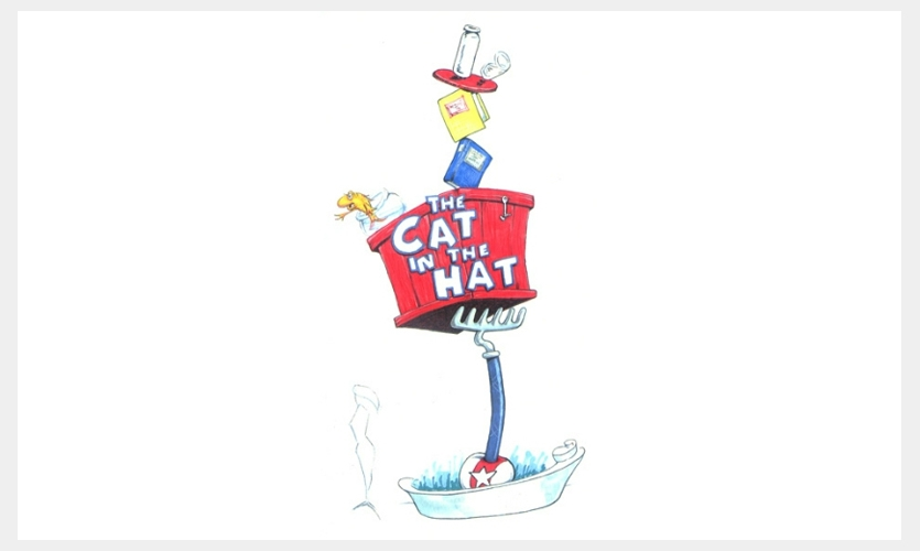 My concept for the Cat in the Hat ride at Universal's Islands of Adventure was inspired by the scene in the book where the cat is balancing everything and standing on a ball.