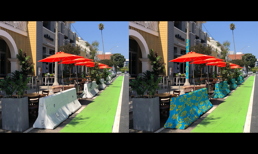 Bold and Colorful Graphics Enliven Parklet Dining