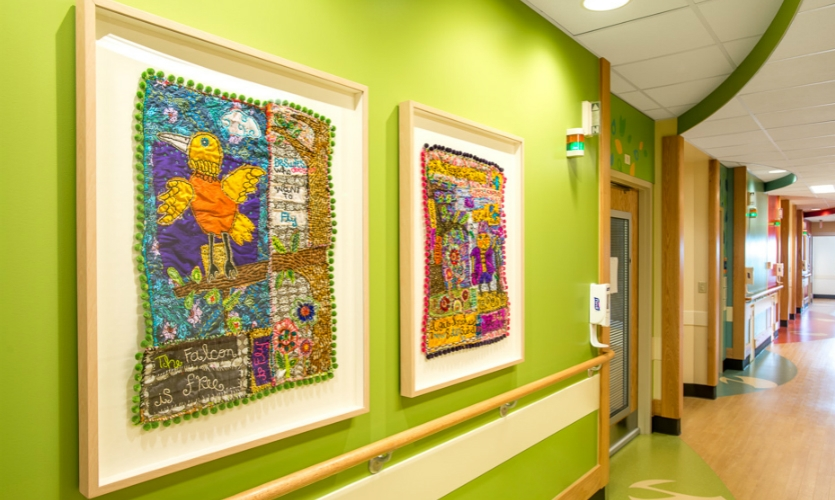Patients and families at CCHMC's Cancer & Blood Diseases Institute shared their personal journeys, which Pam Kravetz wove into nature-inspired textile art. (Partner: ArtWorks)
