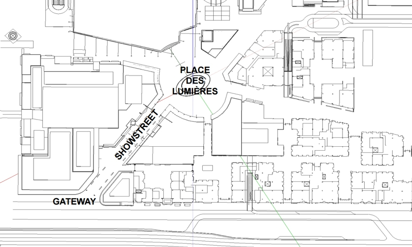 A plan drawing of the area where City Walk is located, and how the three areas are positioned.