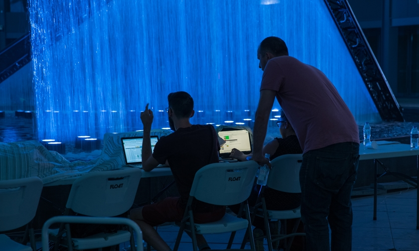 Another behind-the-scenes view of work on the show at the Place Des Lumières.