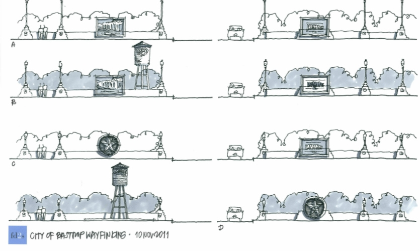 In the process of developing a wayfinding program for Bastrop, Texas, these sketches were done as part of a community engagement session.