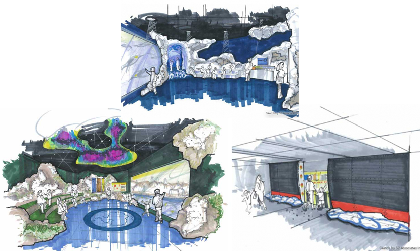 In the upper auditorium, guests observe penguins under the shifting lights of the Aurora Australis. Sketch by S2 Associates Inc.