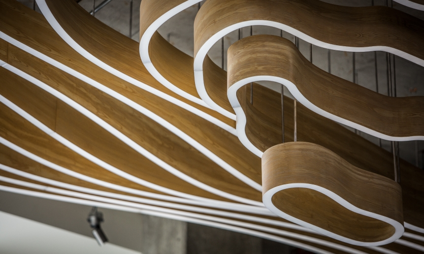 In total, the installation boasts an astonishing 984 linear feet of continuously-lit acrylic.