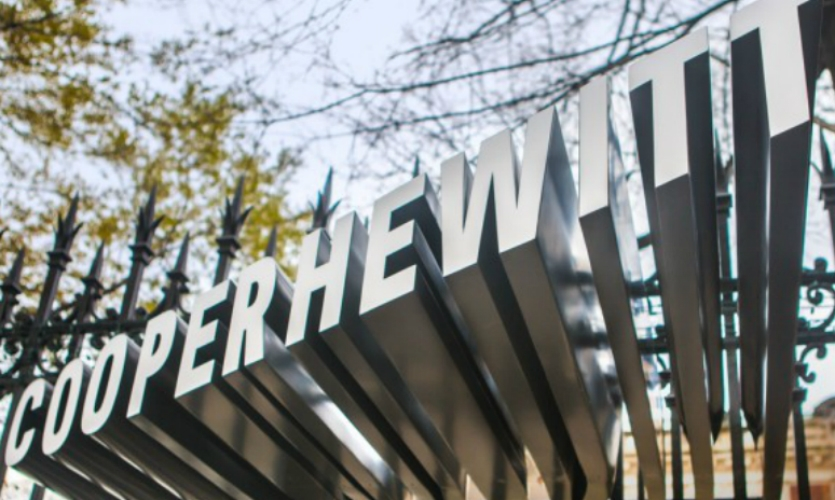 The entrance canopy designed by DSR features an extruded version of Pentagram's Cooper Hewitt wordmark, set in the typeface designed in collaboration with Village.