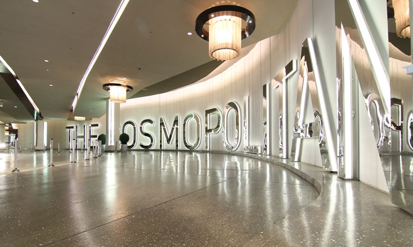 Selbert Perkins Design created all interior and exterior signage for the 6.6-million sf, 2,995-room resort casino Cosmopolitan of Las Vegas.
