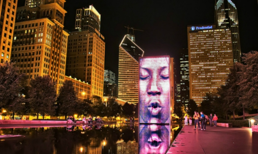Parks and public art are a magic combination, and Chicago does it best. Jaume Plensa's interactive Crown Fountains are still crowd pleasers and a great example of digital technology at monumental scale.