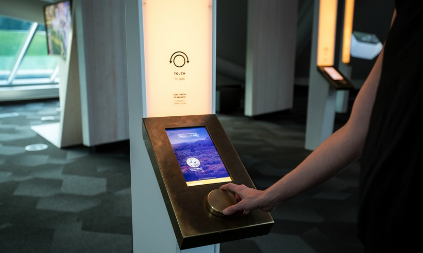 Mimicking scientists at a microscope, visitors turn a bronze dial to zoom in on stories of the hidden biodiversity in the steppe's rolling grasslands.