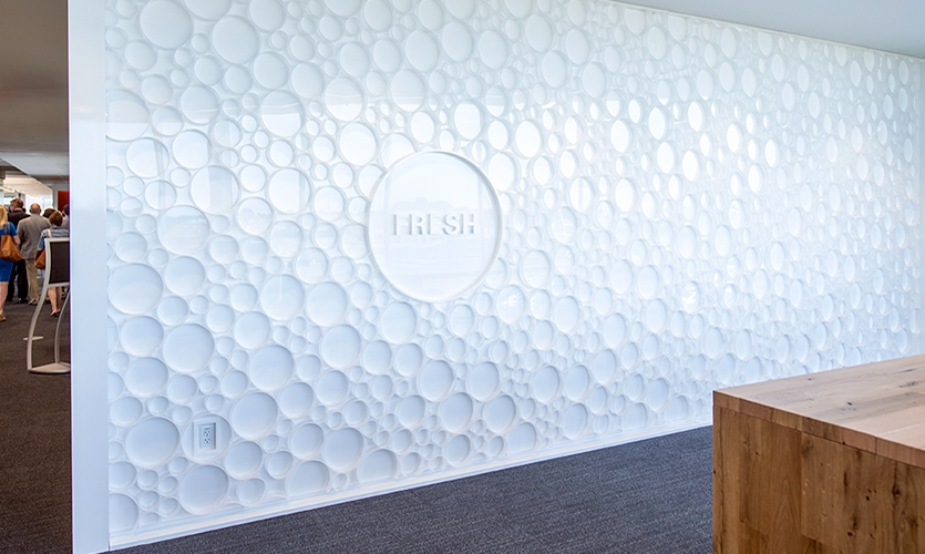 "Acrylic ""milk bubbles"" create an interesting wall."