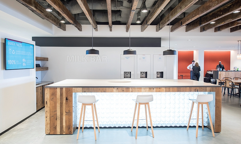 The Milk Bar is a gathering place for employees and clients to enjoy milk products.