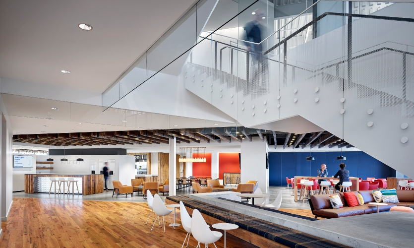 Dimensional Innovations recently completed work on an impressive brand experience for the Dairy Farmers of America's new world headquarters building in Kansas City, Kansas, designed by HOK.