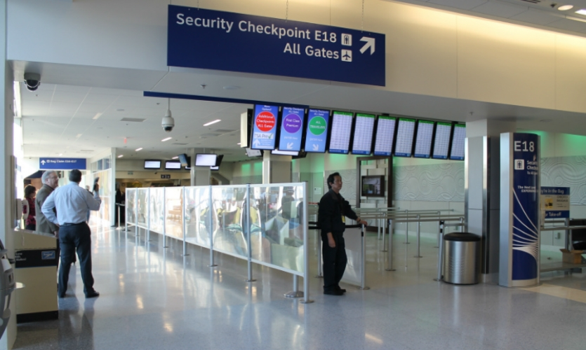 DFW is working to make security checkpoints friendlier and more calm. Displays indicate wait times and in some areas, new graphics and artwork create a lobby-like effect.