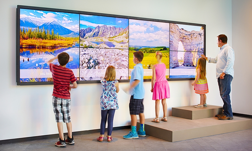 The large activation allows up to five museum visitors to interact with it at the same time, digging up virtual fossils and building their very own dinosaur